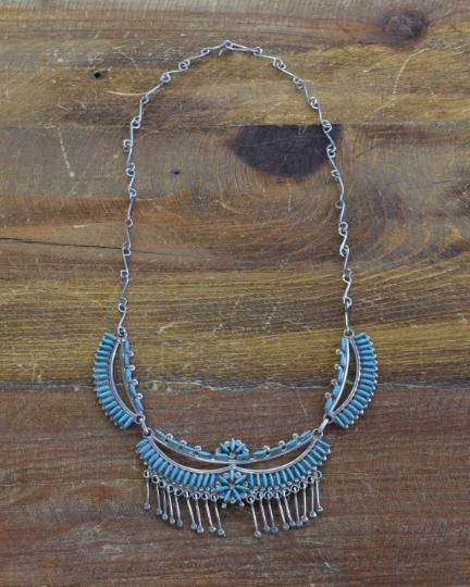 Vintage Zuni Turquoise Petit Point Necklace