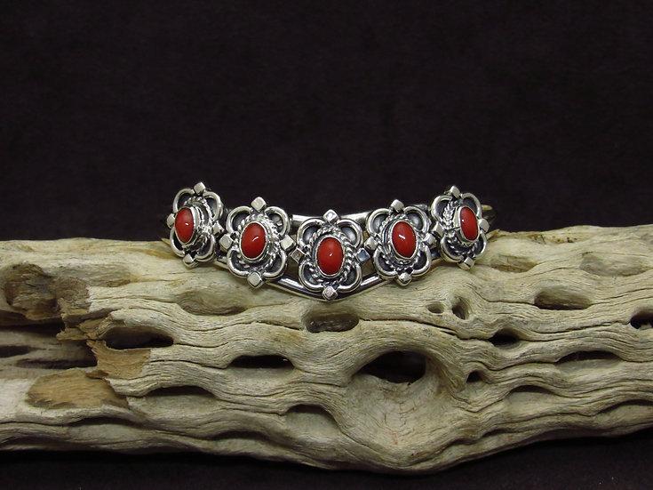 Navajo Sterling Silver Coral Multi Stone Cuff Bracelet