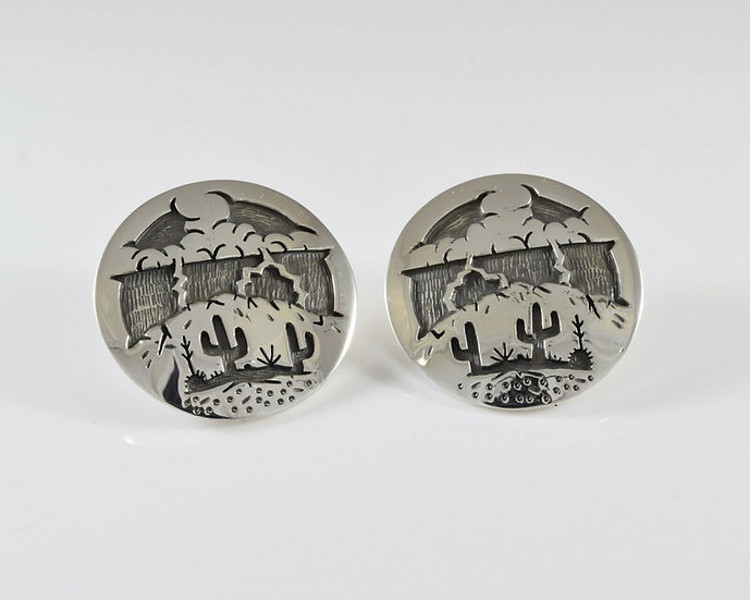 Storming Saguaro Desert Scene Overlay Earrings by Rick Manuel
