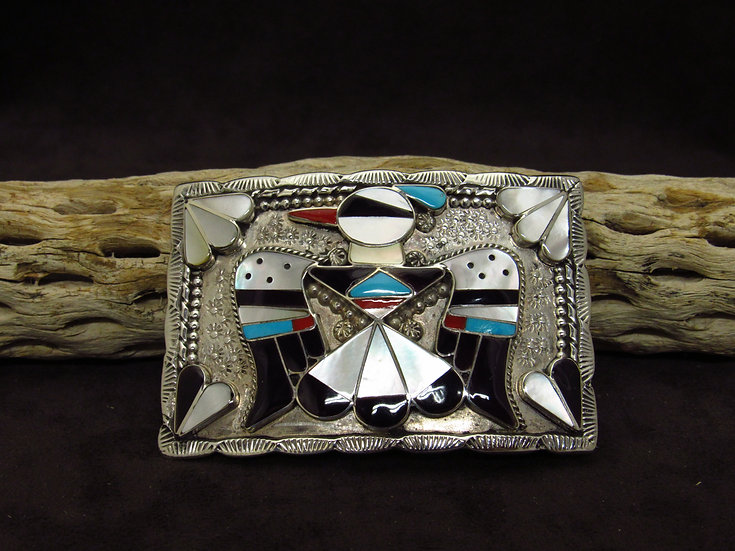 Zuni Multi-Color Inlay Thunderbird Belt Buckle by B & C Shack