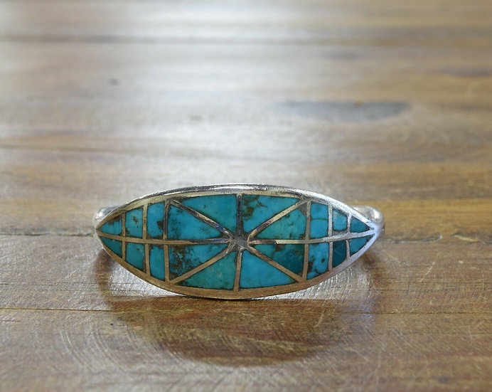 Vintage Sterling Silver Turquoise Inlay Cuff Bracelet