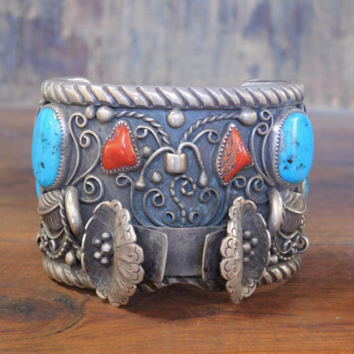 Vintage Navajo Sterling Silver, Coral, and Turquoise Watch Cuff Bracelet