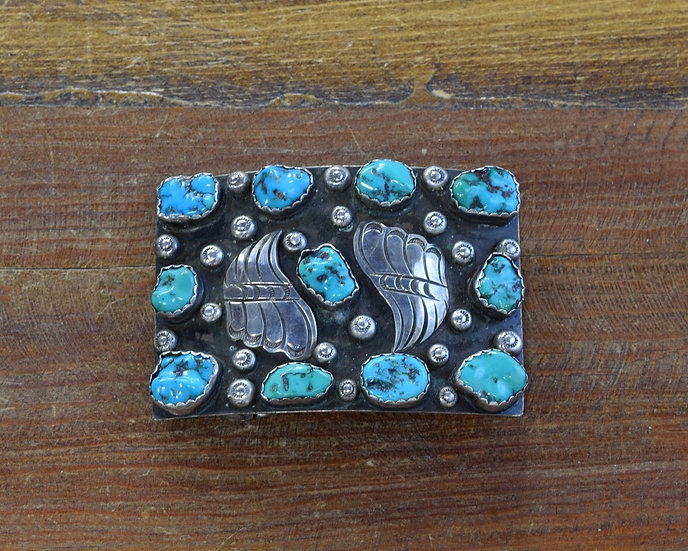 Vintage Sterling Silver and Turquoise Belt Buckle