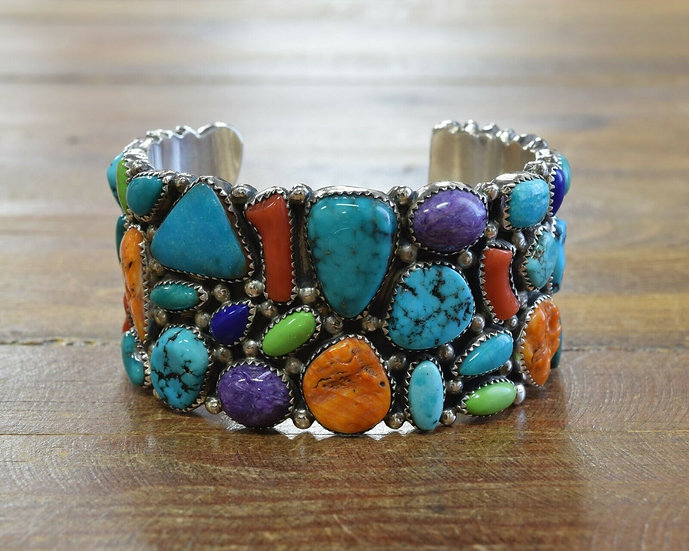 Southwestern Multi-color Sterling Silver Cuff Bracelet