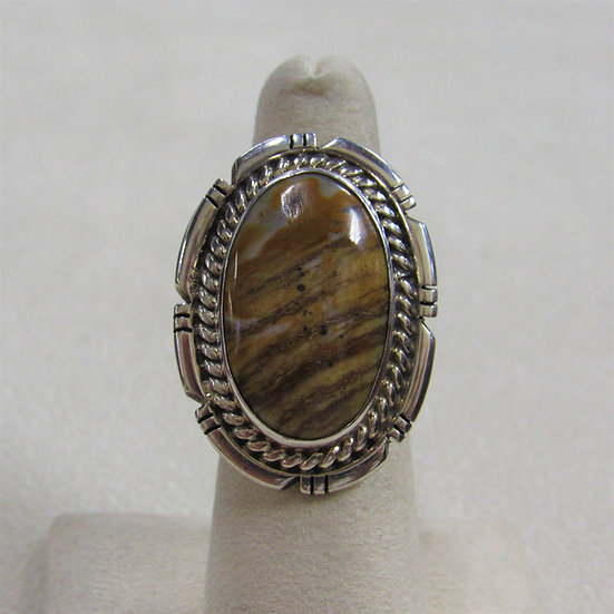 Southwest Sterling Silver and Striated Brown Stone Ring Size 6.25