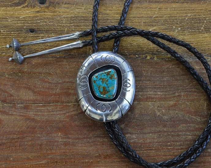 Vintage Sterling Silver and Turquoise Shadowbox Bolo Tie