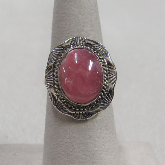 Sterling Silver and Rhodochrosite Southwest Ring Size 6.75