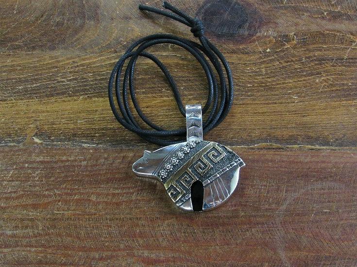 Navajo Vintage Sterling Silver Bear Necklace by Richard Singer