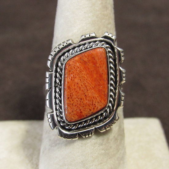Sterling Silver and Apple Coral Ladies Southwest Ring Size 8