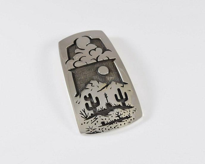 Desert Scene Sterling Silver Overlay Pendant by Rick Manuel