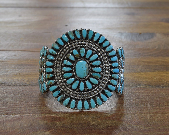 Navajo Sterling Silver and Turquoise Petit Point Cluster Bracelet