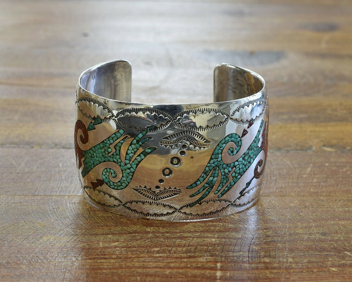 Vintage Southwestern Turquoise and Coral Chip Inlay Cuff Bracelet