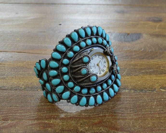 Vintage Navajo Turquoise Cluster Watch Cuff Bracelet by JM Begay