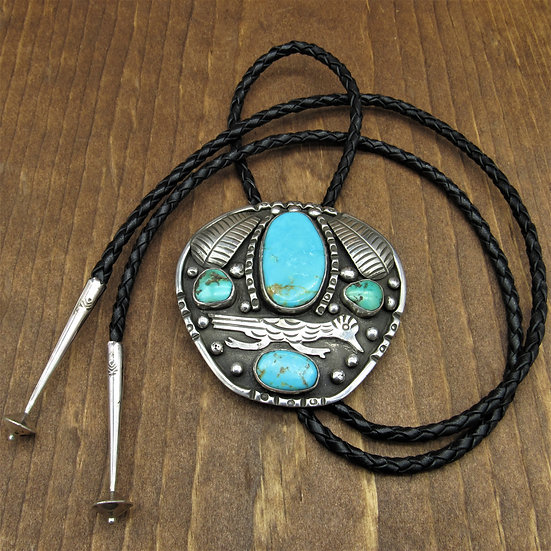 Large Vintage Sterling Silver Road Runner Bolo Tie With Turquoise