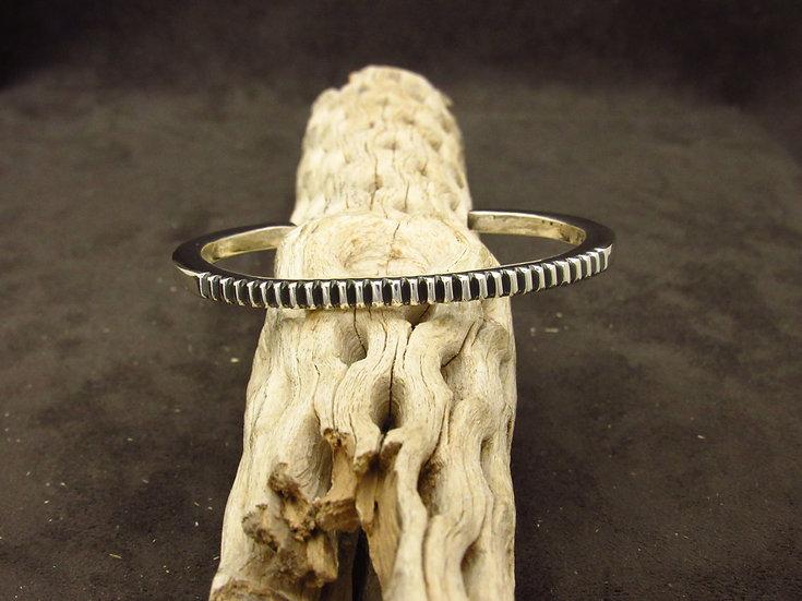 Sterling Silver Ribbed Cuff Bracelet