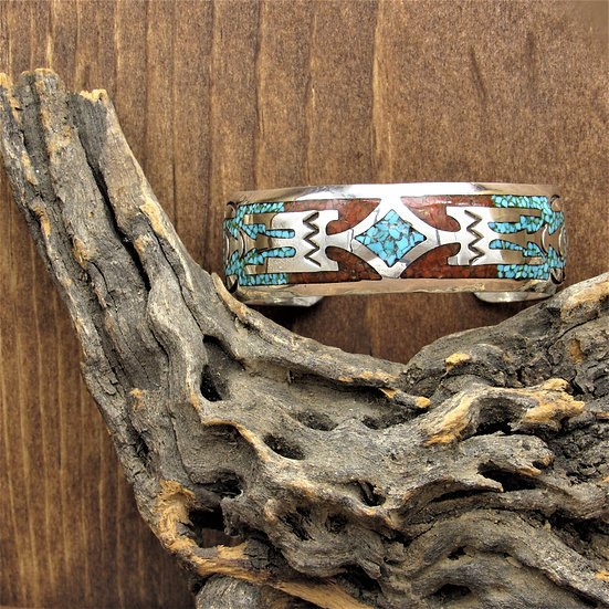 Vintage Navajo Coral and Turquoise Chip Inlay Cuff by Delvin J. Nelson