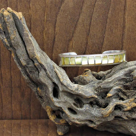 Vintage Sterling Silver Gold Lip Mother Of Pearl Inlay Cuff Bracelet