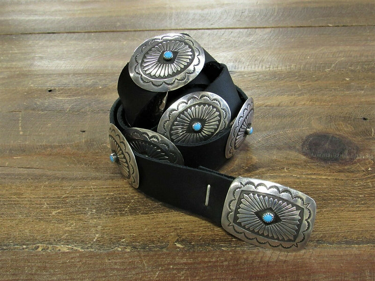 Southwestern Turquoise Stamped Sterling Silver Concho Belt
