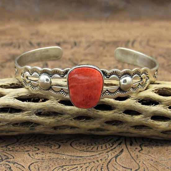 Navajo Sterling Silver Spiny Oyster Cuff Bracelet By Lorenzo James