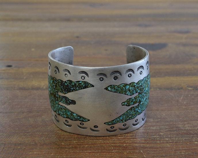 Vintage Turquoise Peyote Bird Chip Inlay Sterling Silver Cuff Bracelet