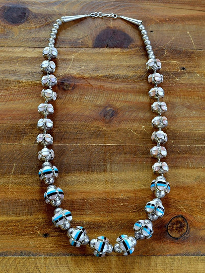Vintage Southwestern Sterling Silver Multi-Stone Inlay Graduated Bead Necklace