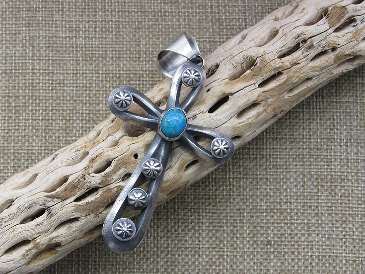 Brushed Sterling Silver and Turquoise Large Cross Pendant  Chimney Butte Navajo