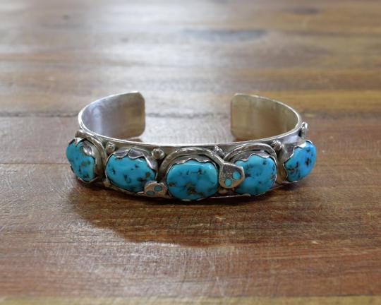 Vintage Zuni Turquoise Sterling Silver Cuff Bracelet by Effie Calavaza