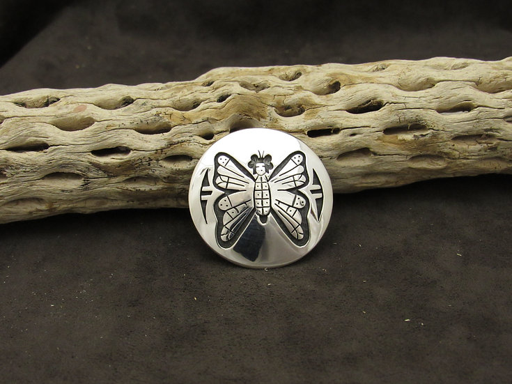 Hopi Sterling Silver Overlay Butterfly Pin by Dennis Howard