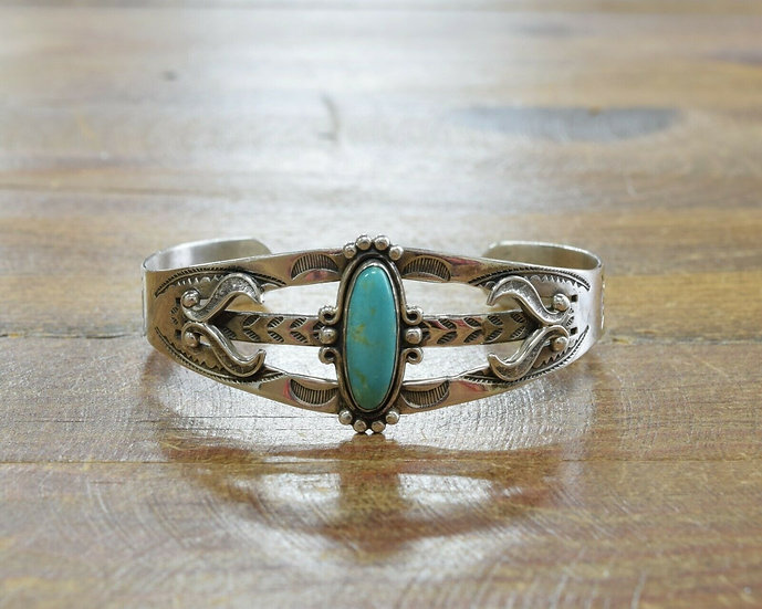 Vintage Fred Harvey Era Sterling Silver and Turquoise Cuff Bracelet
