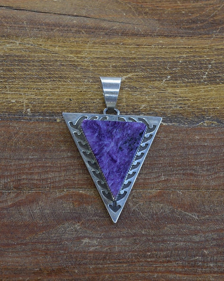 Southwestern Sterling Silver Charoite Triangle Overlay Pendant