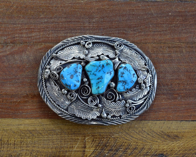 Navajo Gilbert Adaki Sterling Silver and Turquoise Belt Buckle