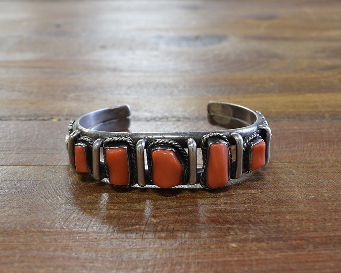Vintage Sterling Silver And Red Coral Cuff Bracelet