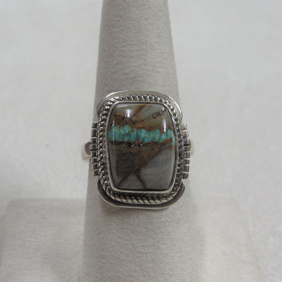 Sterling Silver Boulder Turquoise Ring Size 7.75