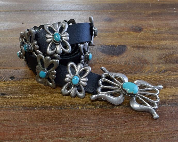 Vintage Sterling Silver Sand Cast Turquoise Concho Belt