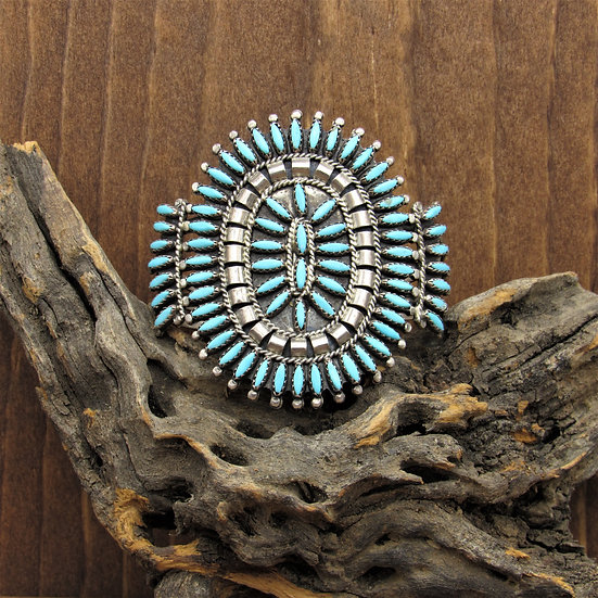 Vintage Navajo Sterling Silver Turquoise Needle Point Cuff Bracelet by N&R Nez