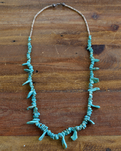 Turquoise and Heshi Necklace 34""