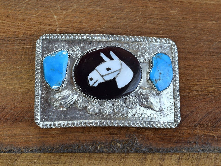 Zuni Sterling Silver Horse Inlay Belt Buckle