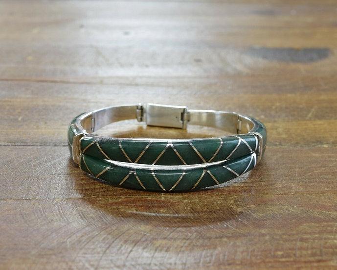 Vintage Mexican Sterling Silver Aventurine Inlay Link Bracelet