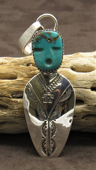 Turquoise Face Carving and Sterling Silver Pendant