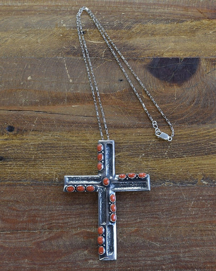 Navajo Sterling Silver and Coral Large Cross Pendant on Sterling Silver Chain