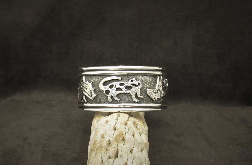 Heavy Sterling Silver Cuff Bracelet by Del Fred Masawytewa