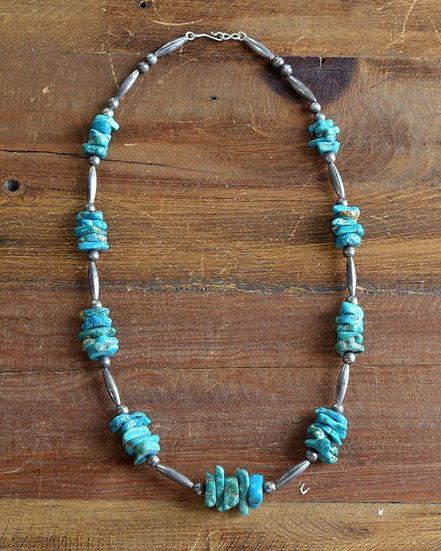 Sterling Silver Beads and Turquoise Nugget Necklace