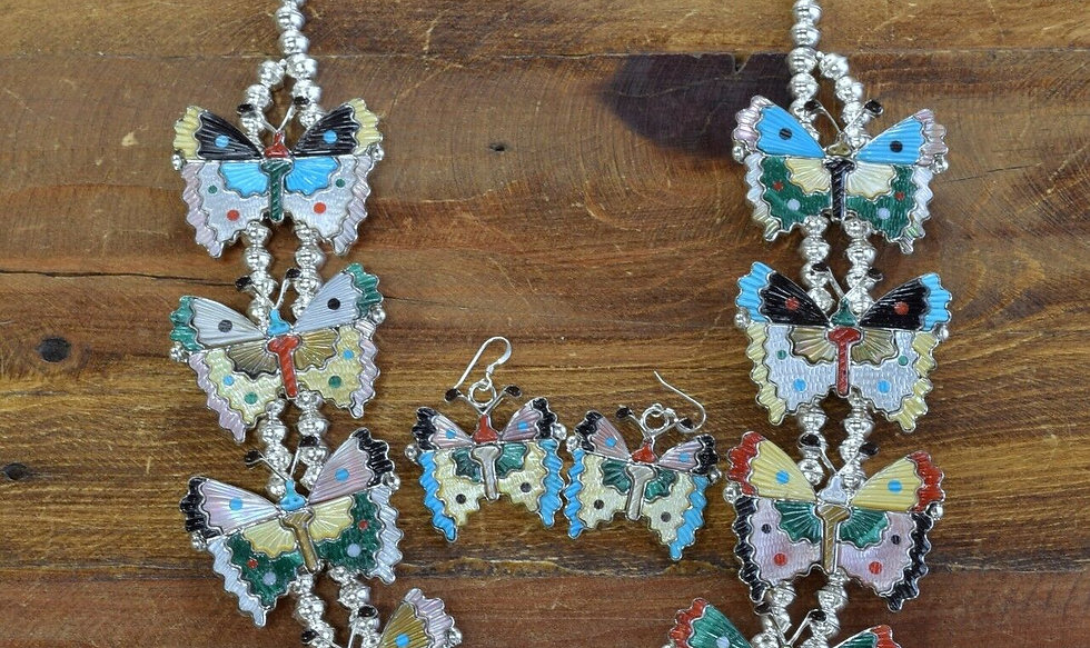 Zuni Sterling Silver Multi-Stone Inlay Butterfly Necklace Set By Tamara Pinto