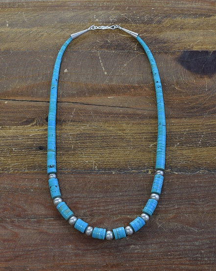 Navajo Graduated Turquoise Sterling Silver Beaded Necklace
