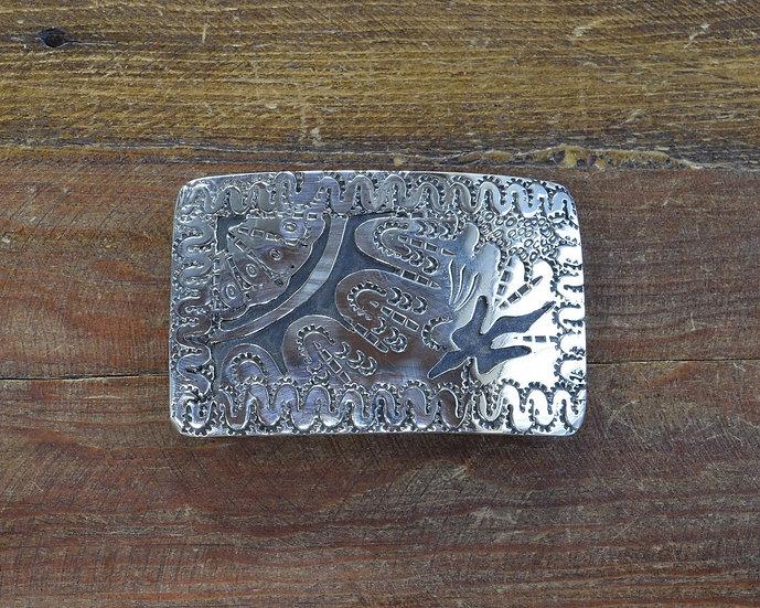 Southwestern Vintage Sterling Silver Belt Buckle