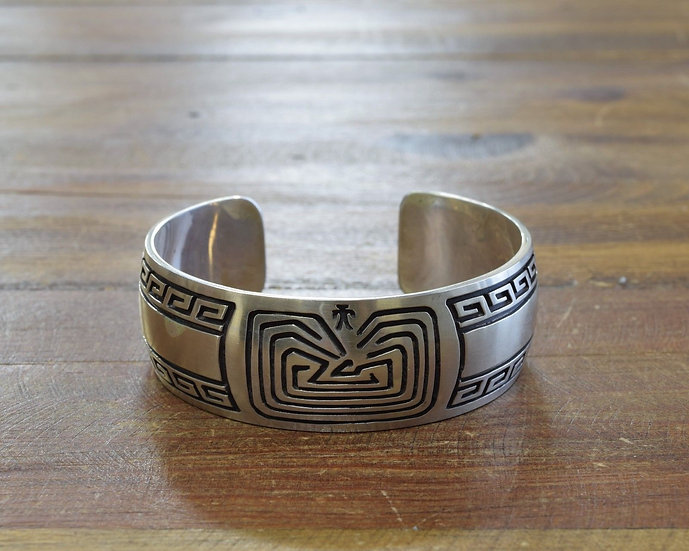 Vintage Sterling Silver Man in the Maze Overlay Cuff Bracelet