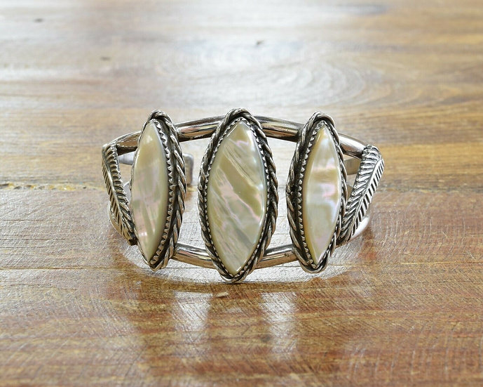 Vintage Sterling Silver and Mother of Pearl Cuff Bracelet