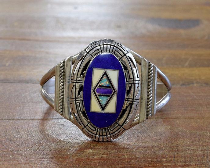 Vintage Navajo Multi-Stone Inlay Sterling Silver Cuff Bracelet