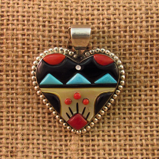 Zuni Multi Stone Inlay Heart Pendant