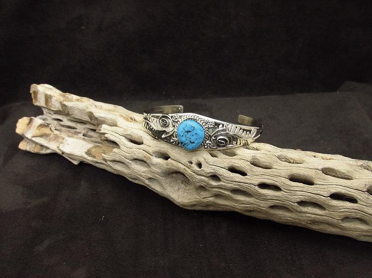 Handmade Sterling Silver Blue Turquoise Cuff Bracelet